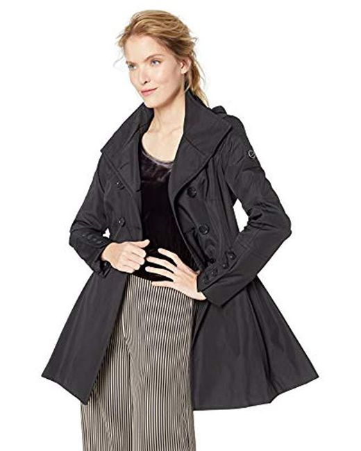 Calvin Klein - Black Double Breated Rain Coat With Pleated Skirt And Detachable Hood - Lyst
