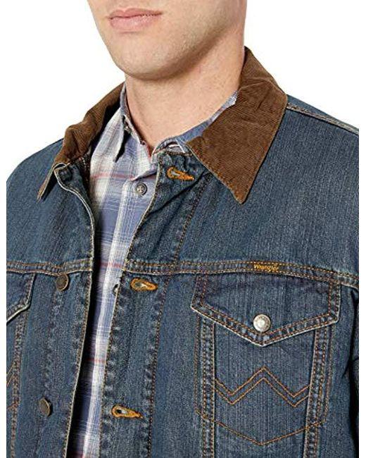 c8092ffb652 ... Wrangler - Blue Western Concealed Carry Blanket Lined Denim Jacket for  Men - Lyst ...