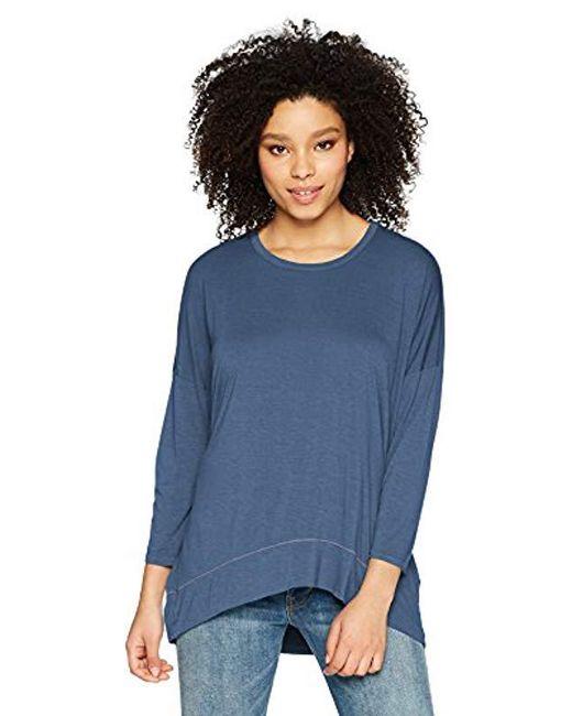 Three Dots - Blue Vintage Jersey 3/4 Slv Short Loose Top - Lyst