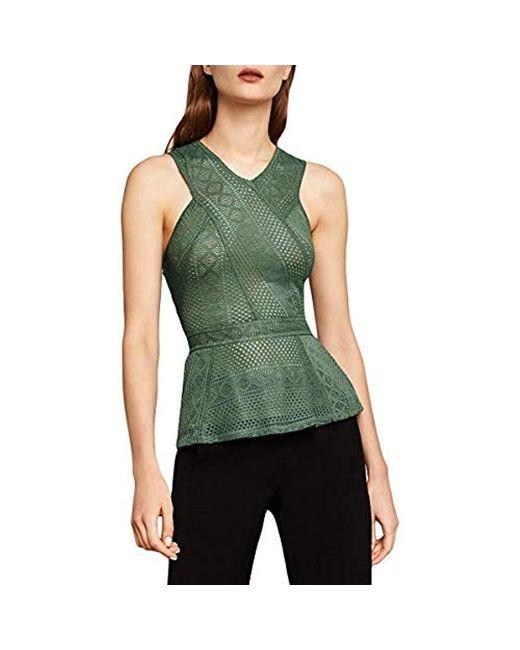 BCBGMAXAZRIA Green Hanne Geometric Lace Peplum Top