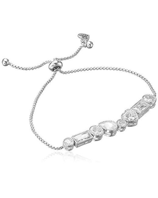 "Betsey Johnson - Metallic ""betsey Blue Mixed Cubic Zirconia Stone Silver Slider Bracelet - Lyst"