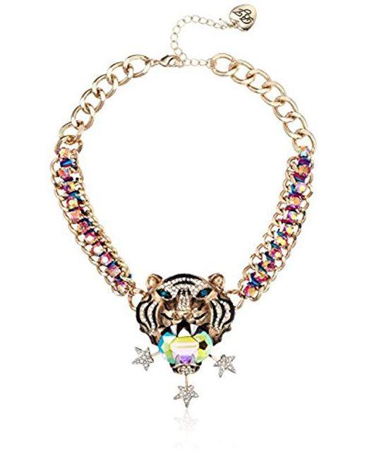 Betsey Johnson - Metallic Mystic Baroque Queens Gold Tiger Statement Pendant Necklace - Lyst