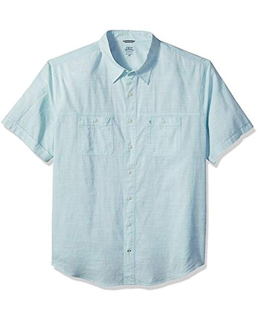 721f0790 Izod - Blue Big And Tall Saltwater Chambray Solid Short Sleeve Shirt for Men  - Lyst ...