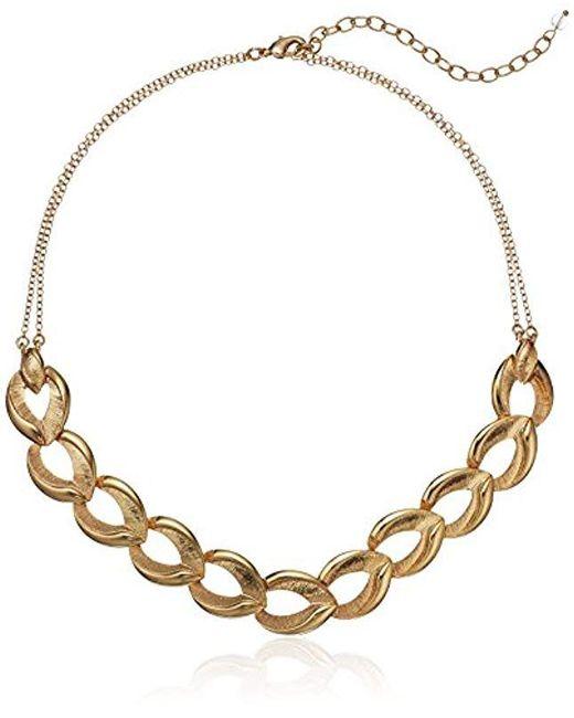 Napier - Metallic Gold Tone Frontal Necklace - Lyst