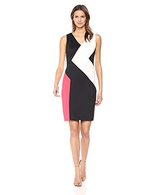 f0180d16 Calvin Klein 3 Colorblock Dress in Black - Save 27% - Lyst