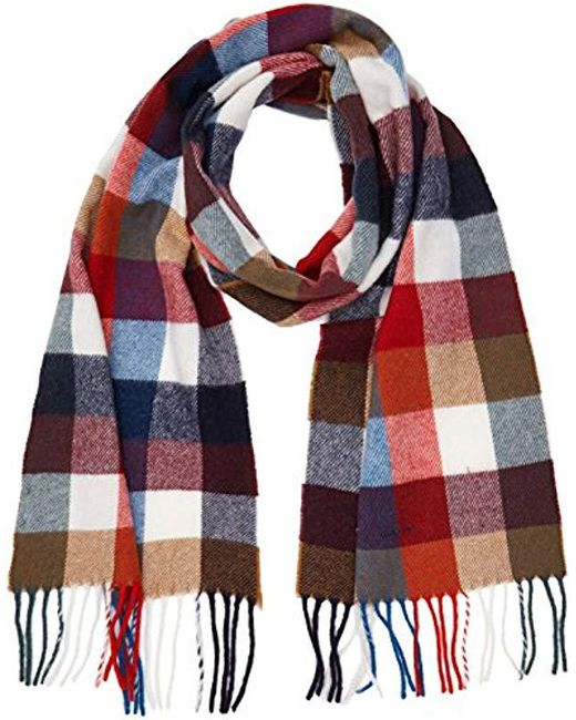 Gant - Red Multicheck Lambswool Scarf for Men - Lyst