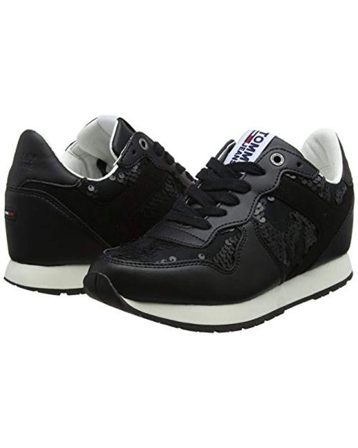 8b1d6b95a ... Tommy Hilfiger - Black Tj Wedge Sequin Sneaker Low-top - Lyst ...