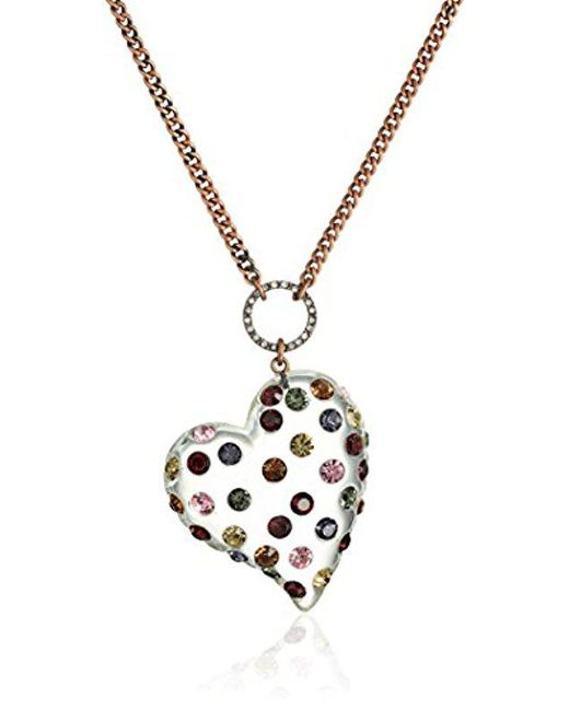 """Betsey Johnson - Metallic """"confetti"""" Mixed Multi-colored Stone Lucite Heart Long Pendant Necklace - Lyst"""
