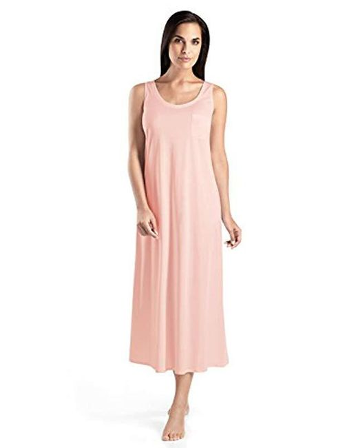 3ebc0d64eb Lyst - Hanro Cotton Deluxe Long Tank Nightgown in Pink