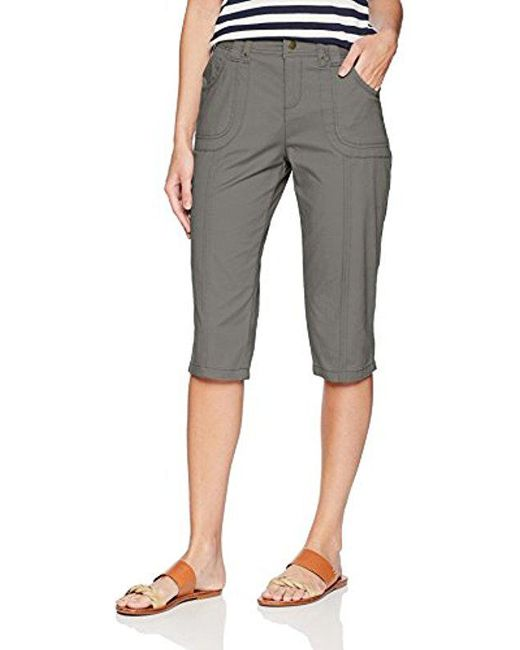 Lee Jeans - Gray Relaxed Fit Lyric Knit Waist Cargo Capri Pant - Lyst