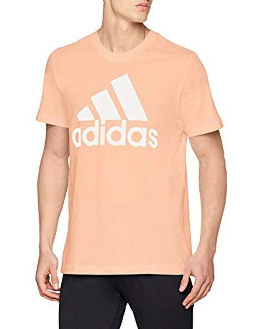 Adidas - Orange Essentials Linear T-shirt for Men - Lyst ... fb612daa2