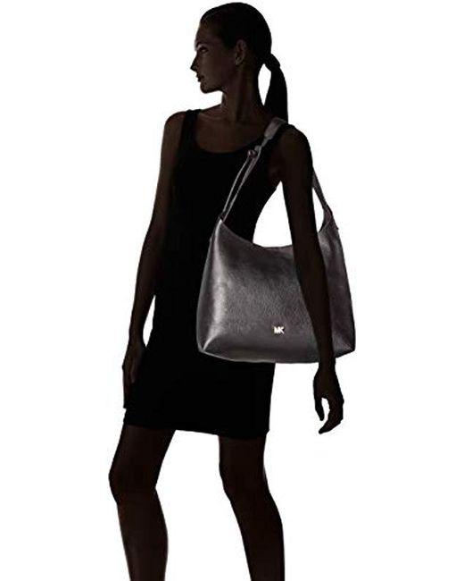 d6ead5ef03 ... Michael Kors - Medium Junie Pebbled Black Leather Shoulder Bag - Lyst