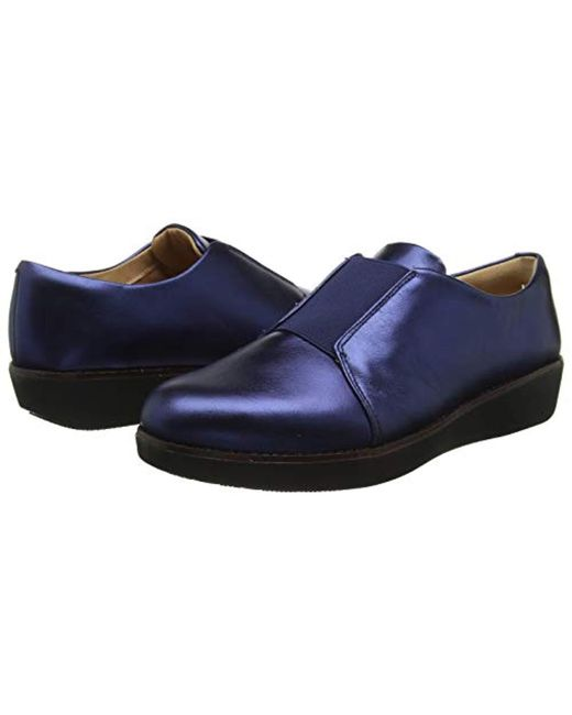 bade923c4b3f ... Fitflop - Blue Laceless Elastic Derby Metallic Leather Loafers - Lyst  ...