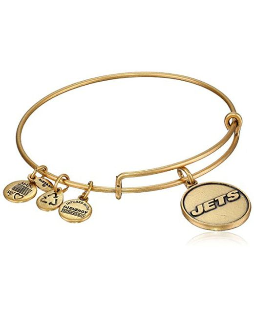"ALEX AND ANI - Metallic ""nfl"" New York Jets Logo Expandable Wire Rafaelian Gold-tone Bangle Bracelet, 7.5"" - Lyst"