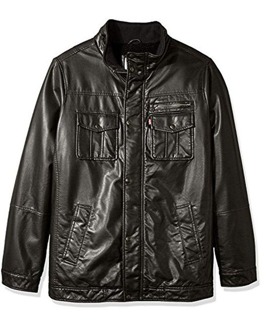 Levi's - Black Tall Size Vintage Deer Look Pu 2-pkt Trucker With Full Sherpa Lining for Men - Lyst