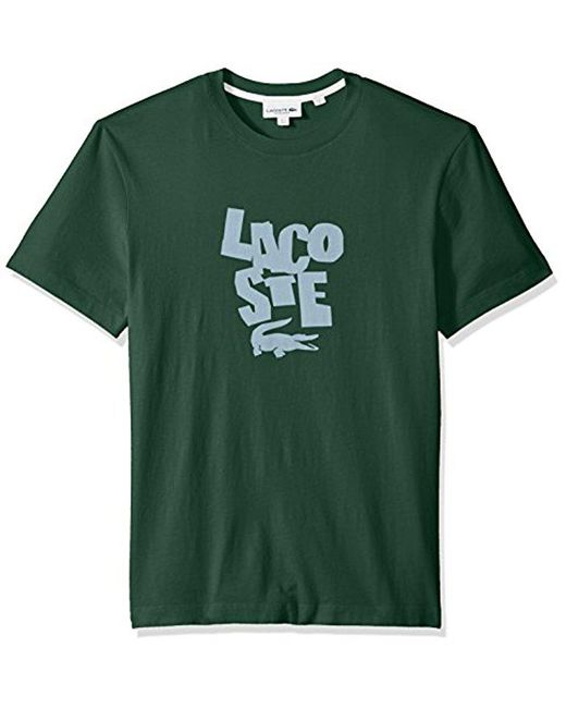 Lacoste - Green Short Sleeve Graphic Jersey Print Reg Fit T-shirt, Th3263 for Men - Lyst
