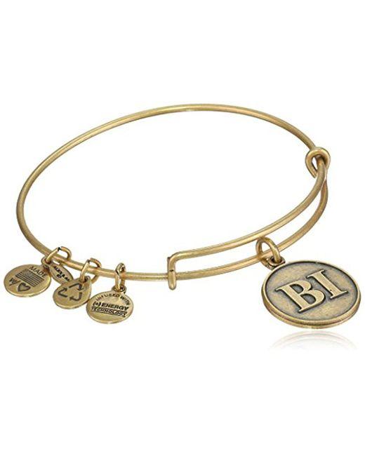 "ALEX AND ANI - Metallic ""places We Love Rafaelian Gold-tone Block Island Initials Expandable Wire Bangle Bracelet, 7.25"" - Lyst"