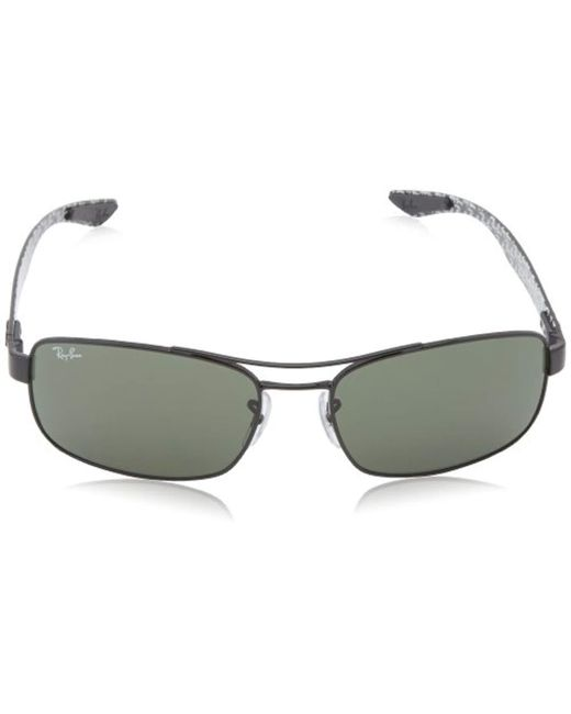 397e020af6 ... Ray-Ban - Tech Carbon Fibre Rectangle Sunglasses In Black Crystal Green  Polarised Rb8316 002 ...