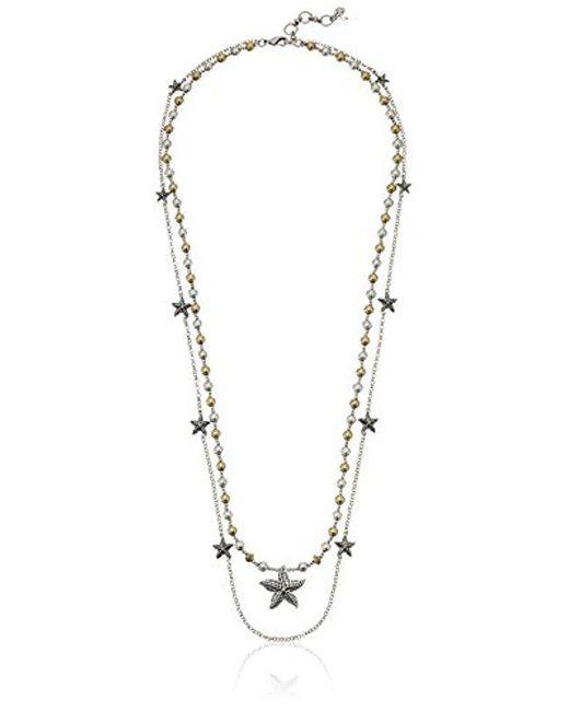 "Lucky Brand - Metallic Starfish Layer Necklace, 29"" + 1.5"" Extender - Lyst"