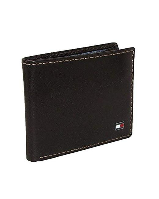eb270fb295 Tommy Hilfiger - Brown Leather Slim Billfold Wallet for Men - Lyst ...