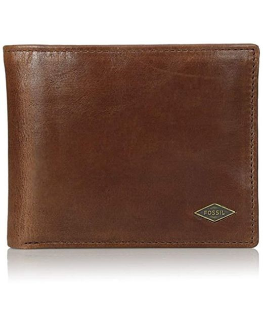 Fossil - Brown Leather Rfid Blocking Passcase Wallet for Men - Lyst