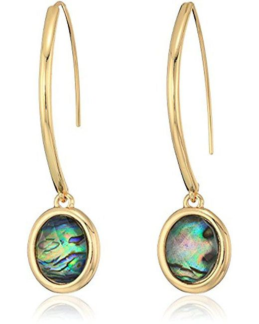 Anne Klein - Metallic Gold Tone And Turquoise Stone Threader Drop Earrings - Lyst