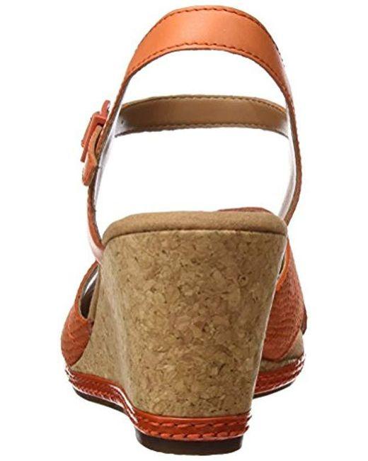 4636a54a771 Clarks  s Helio Latitude Wedge Heels Sandals in Orange - Lyst