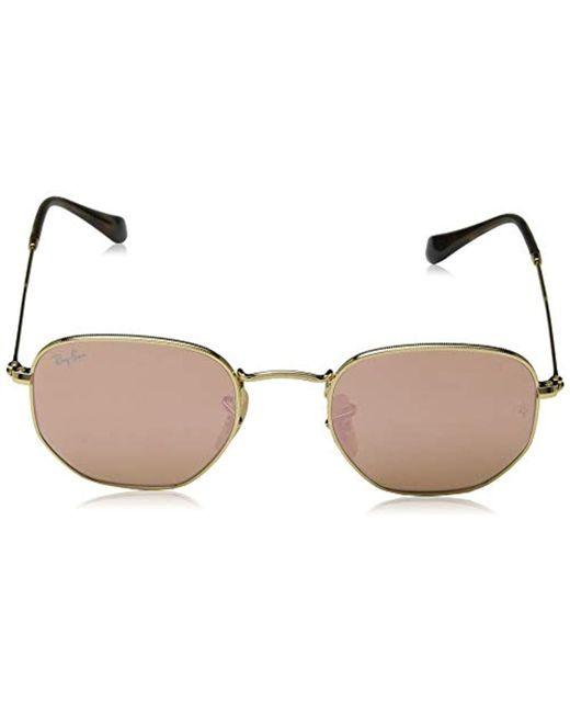 0f77fc54aa ... Ray-Ban - Metallic Hexagonal Flat Lens Sunglasses In Gold Copper Flash  Rb3548n 001  ...