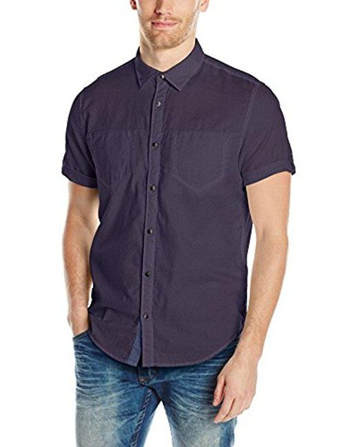 CALVIN KLEIN 205W39NYC - Blue Jeans Short Sleeve Roll Tab Double Pocket Button Down Shirt for Men - Lyst