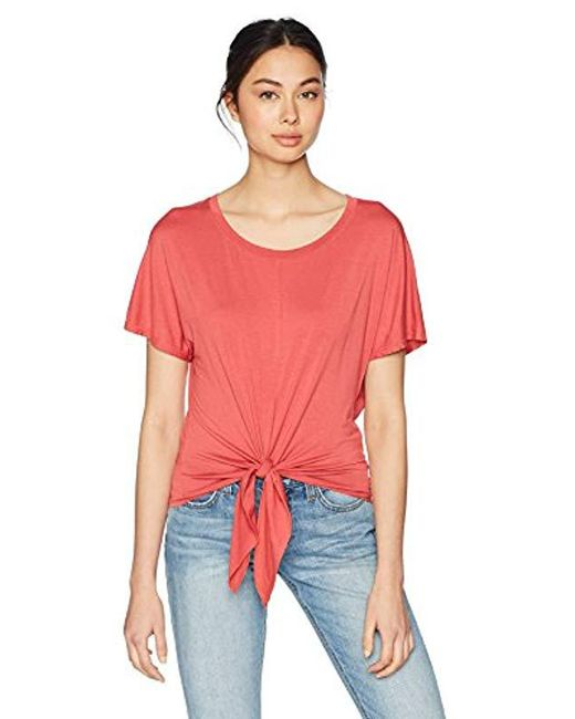Three Dots - Red Refined Jersey Short Loose Tie Front Tee - Lyst