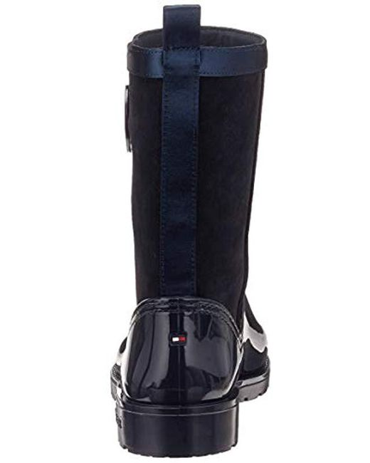 fda0c18339137 ... Tommy Hilfiger - Blue Warmlined Suede Rain Boot Wellington - Lyst ...