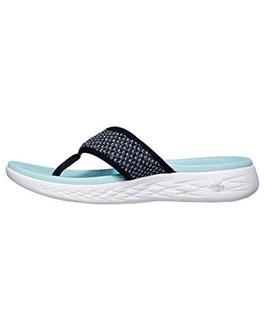b28f225c7f2a ... Skechers - Blue On-the-go 600-glossy Flip-flop - Lyst ...