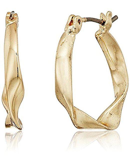 Nine West Metallic Gold Tone Hoop Earrings Lyst