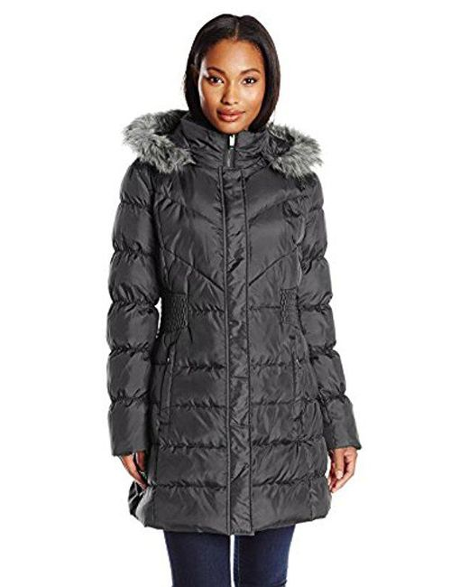 Via Spiga - Gray Quilted Down Coat With Faux-fur Collar - Lyst