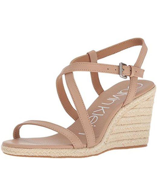 Calvin Klein - Natural Bellemine Espadrille Wedge (platinum White) Women's Wedge Shoes - Lyst