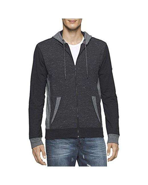 CALVIN KLEIN 205W39NYC - Black Jeans Texture Blocked Hoodie for Men - Lyst