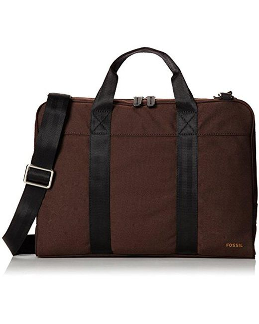 Fossil - Brown Mercer Nylon Workbrief for Men - Lyst