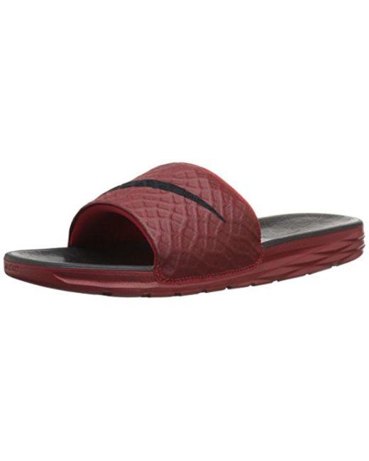 940af9a44e4f Nike - Red Benassi Solarsoft Slide Sandal for Men - Lyst ...