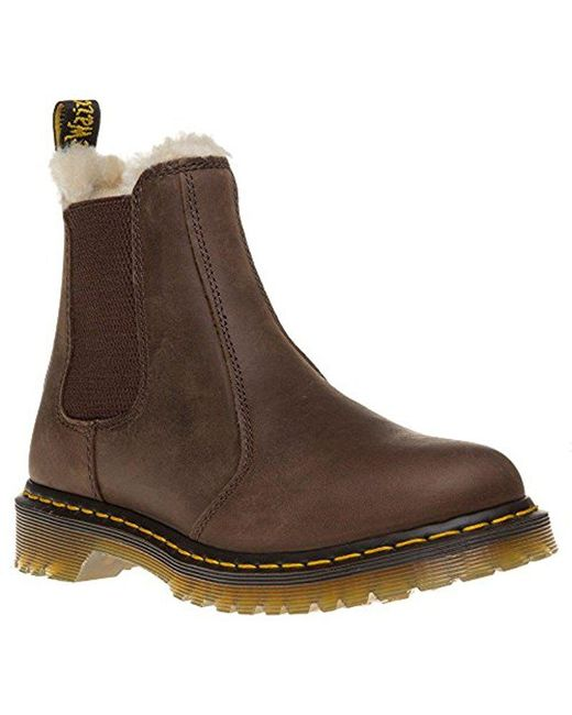 Dr. Martens - Brown Leonore Burnished Wyoming Leather Fashion Boot - Lyst