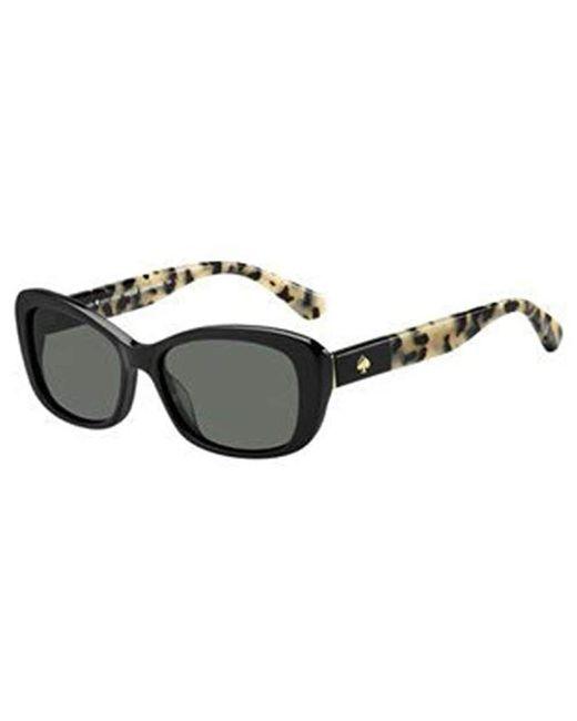 Kate Spade - Black Kate Spade Claretta/p/s Polarized Rectangular Sunglasses, Havana, 53 Mm - Lyst