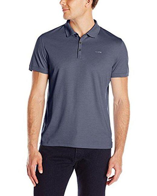 Calvin Klein - Blue Liquid Cotton Polo for Men - Lyst