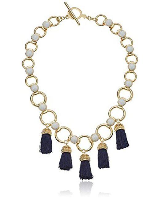Trina Turk - Metallic Beads In Bloom Tassel Link Pendant Necklace - Lyst