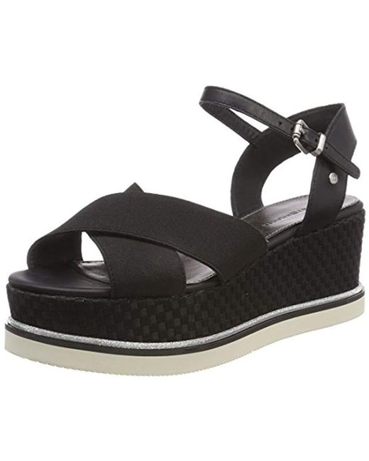 Tommy Hilfiger - Black Sporty Stretch Flatform Sandals - Lyst