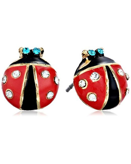 Betsey Johnson - Red S Ladybug Studs - Lyst