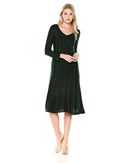 Nine West - Green V-neck Fit &flare Cable Dress - Lyst