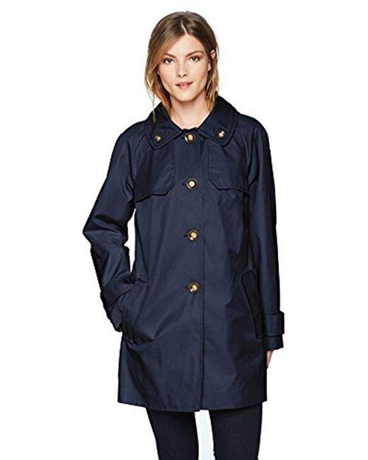 London Fog - Blue Double Shoulder Flap Rain Coat - Lyst
