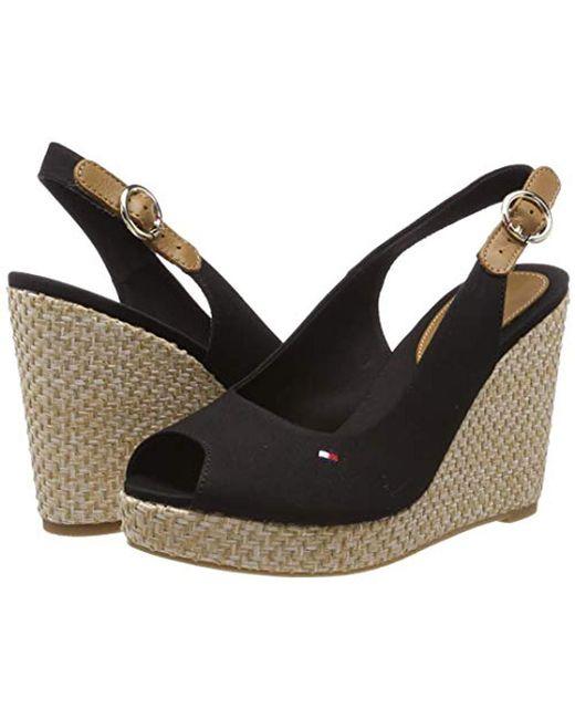 2b0b49c378c ... Tommy Hilfiger - Black Iconic Elena Basic Sling Back Sandals - Lyst ...