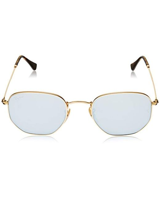 9dfe517ac5634 ... Ray-Ban - Metallic Hexagonal Flat Lens Sunglasses In Gold Green Rb3548n  001 51 for ...