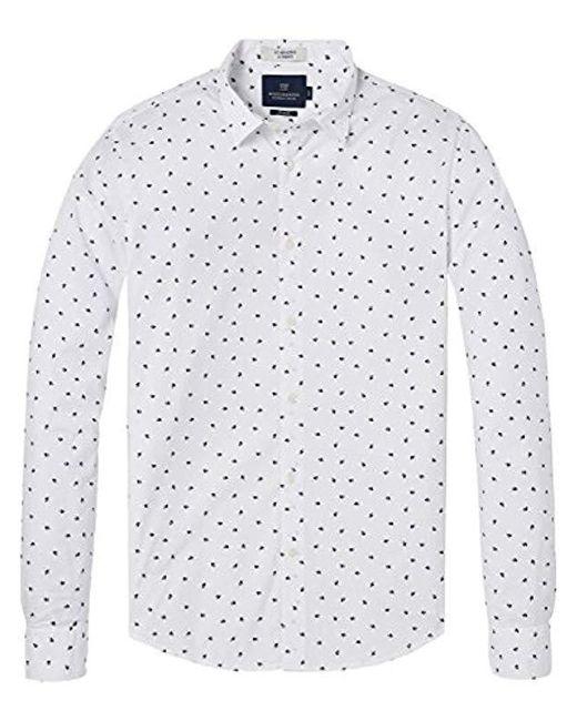 Scotch & Soda White Longsleeve Mens Shirt for men