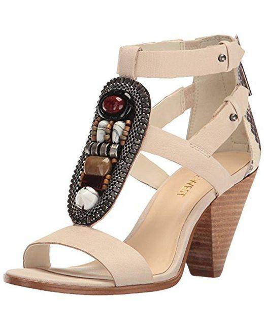 Nine West - White Reese Leather Dress Sandal - Lyst
